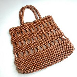 Vintage Wood Beaded 1960's Purse Brown Lined Purse